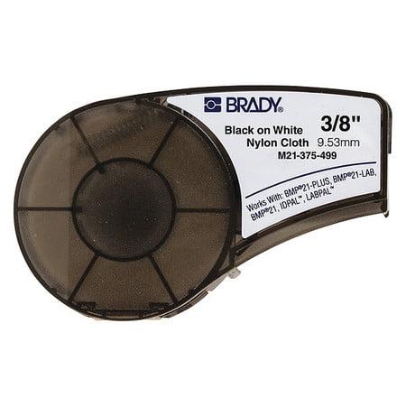 BRADY M21-375-499 Label Cartridge,Black/White,3/8 In. W