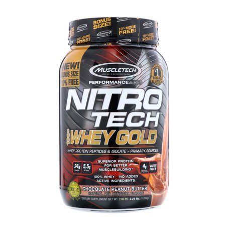 Muscletech  Nitro Tech  100  Whey Gold  Chocolate Peanut Butter  2 24 lbs  1 02 kg