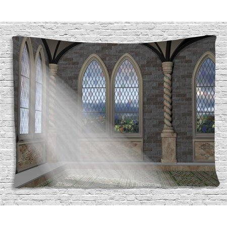 Fantasy Tapestry, Crepuscular Rays Streaming Through Stained Glass Window Ancient Palace Castle, Wall Hanging for Bedroom Living Room Dorm Decor, 60W X 40L Inches, Grey Cream White, by (Quoizel Stained Glass Tapestry)