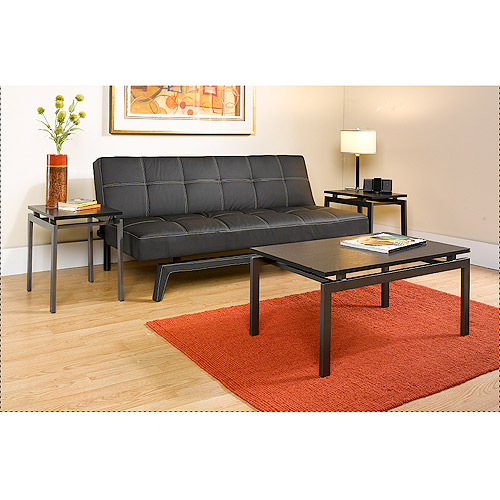 Hometrends 3 Piece Coffee & End Tables Set, Dark Gray/Black Ash