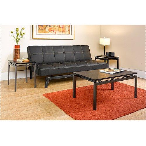 ... Hometrends 3 Piece Coffee u0026 End Tables Set, Dark Gray/Black Ash
