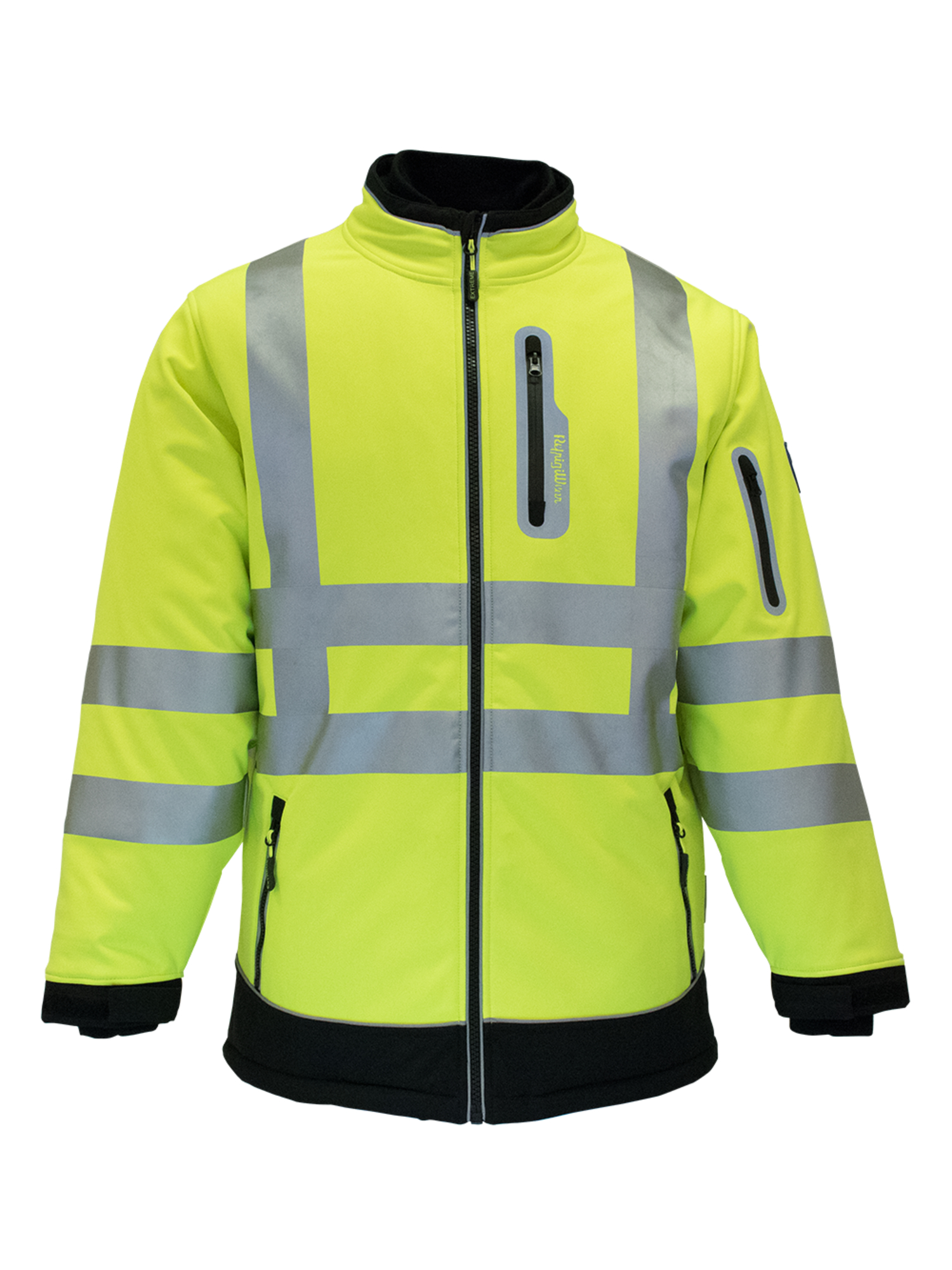 RefrigiWear Men's Insulated HiVis Extreme Softshell Jacket with Reflective Tape