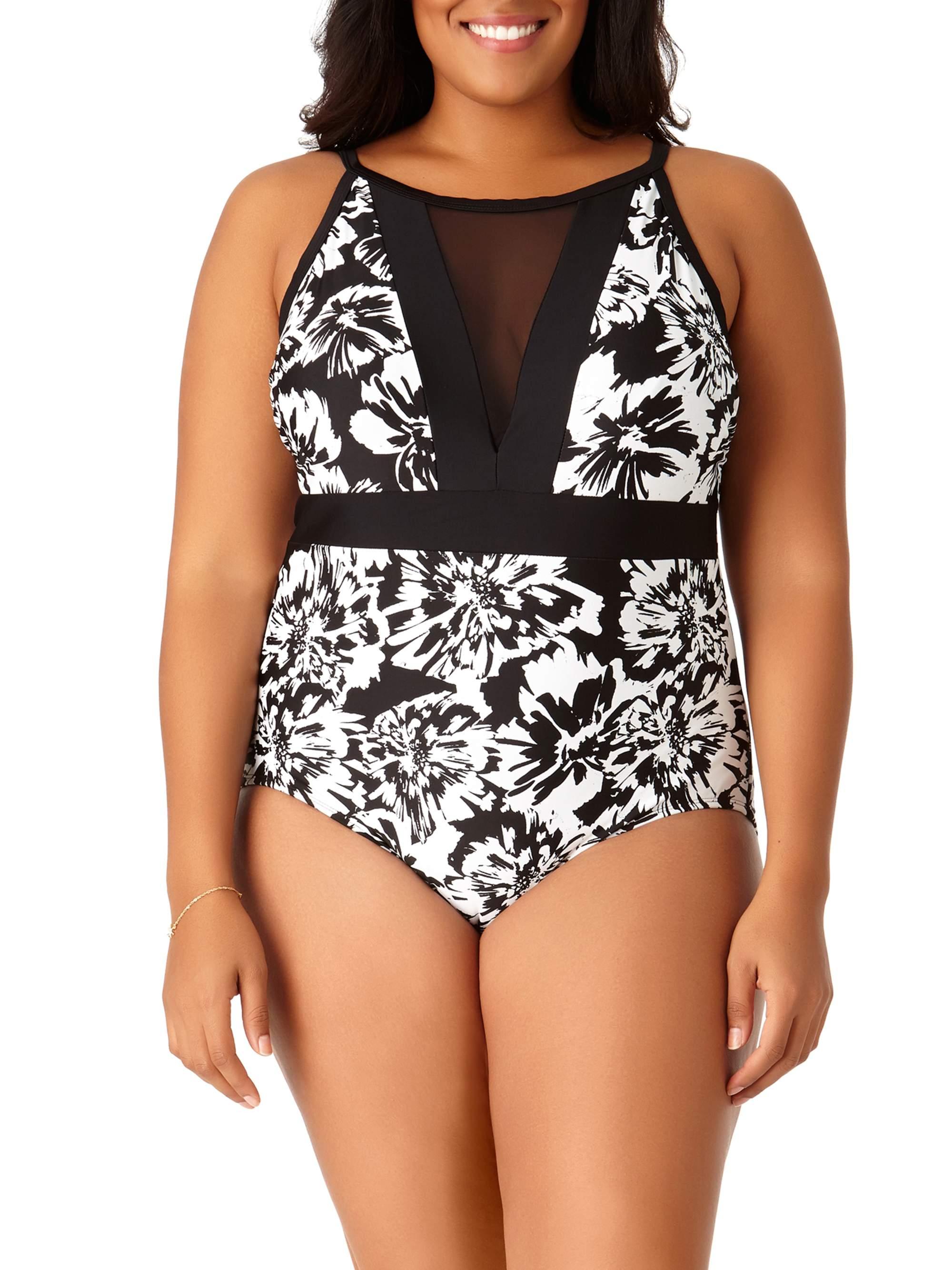 Women's Plus-Size Floral Burst One-Piece Swimsuit