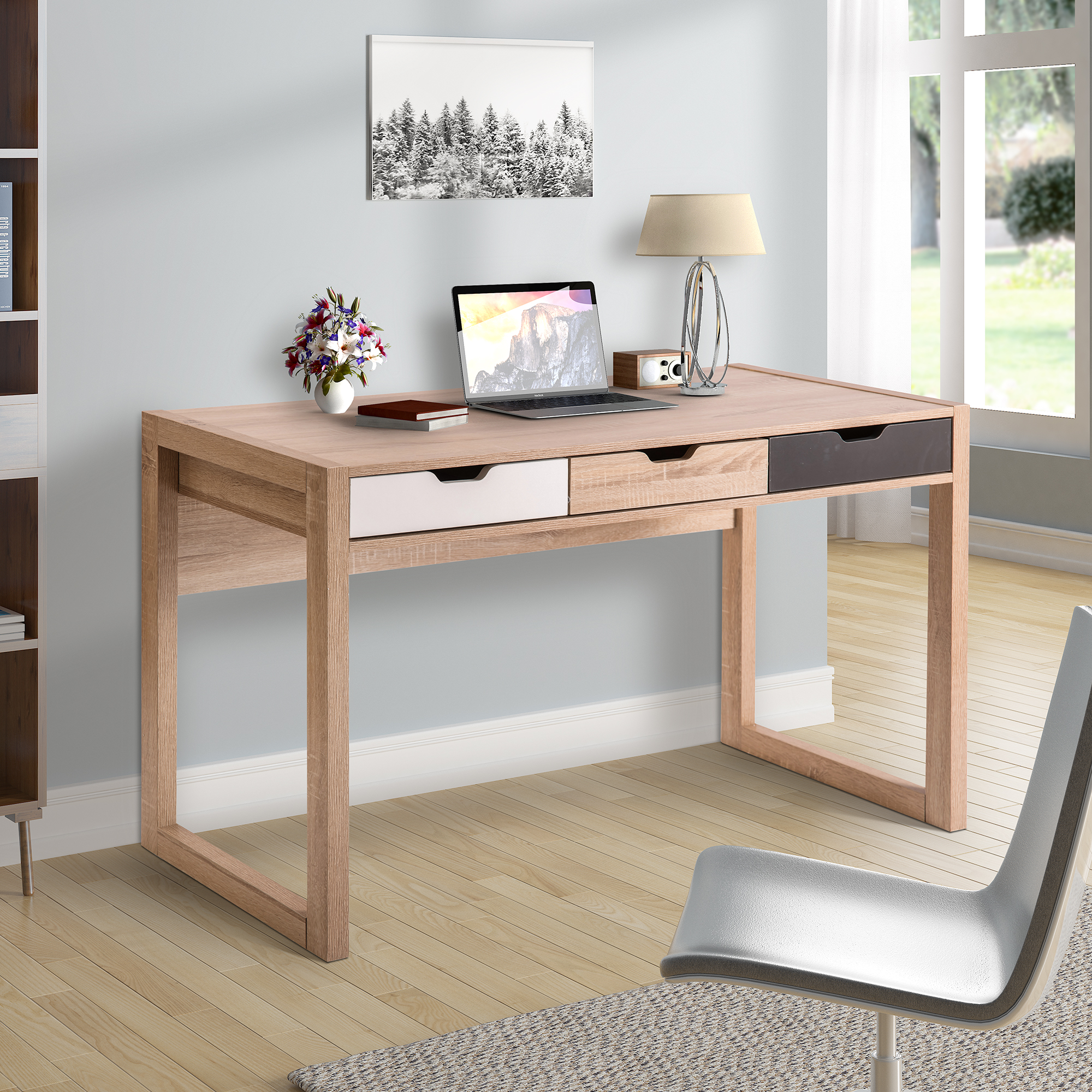 ModernLuxe Wood Computer Desk for Home Office with Drawers, Multiple Colors