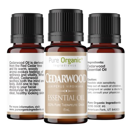 (Cedarwood Pure Essential Oil 15 mL by Pure Organic Ingredients, Clear Healthy Skin, Soothes the Body & Mind, Reduces Stress,Warm Woody Aroma, Convenient Dropper Cap Bottle)