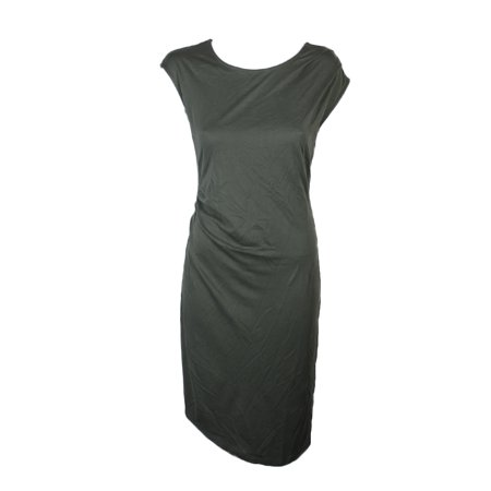 - BAR III Womens Green Gathered Cap Sleeve Jewel Neck Knee Length Sheath Dress  Size: S