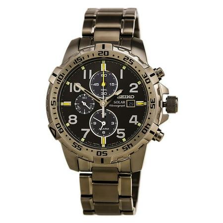 b01d599ef00 Seiko - SSC307 Men s Core Solar Black Dial Grey IP Steel Bracelet  Chronograph Alarm Watch - Walmart.com