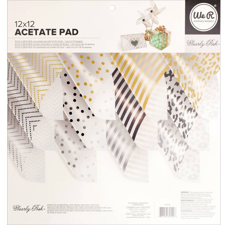 """We R Memory Keepers Acetate Pad, 12"""" x 12"""", 12pk, Clearly Posh with Foil"""