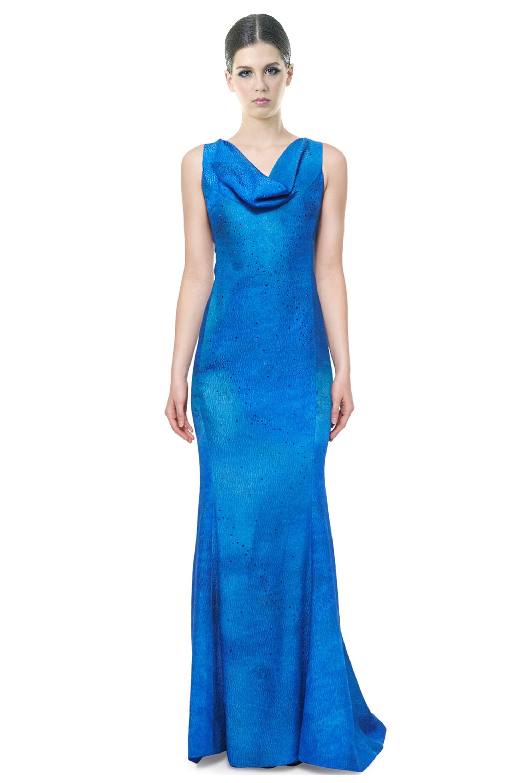 Rene Ruiz Sleeveless Cowl Neck Column Evening Gown Dress - Walmart.com