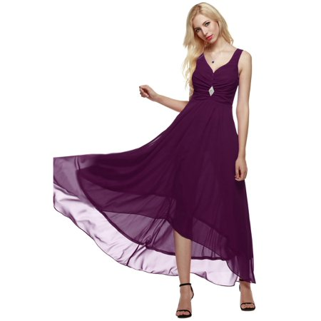 Women Sleeveless Ruched Chiffon Maxi Cocktail Party Evening Fromal Gown Dress HFON