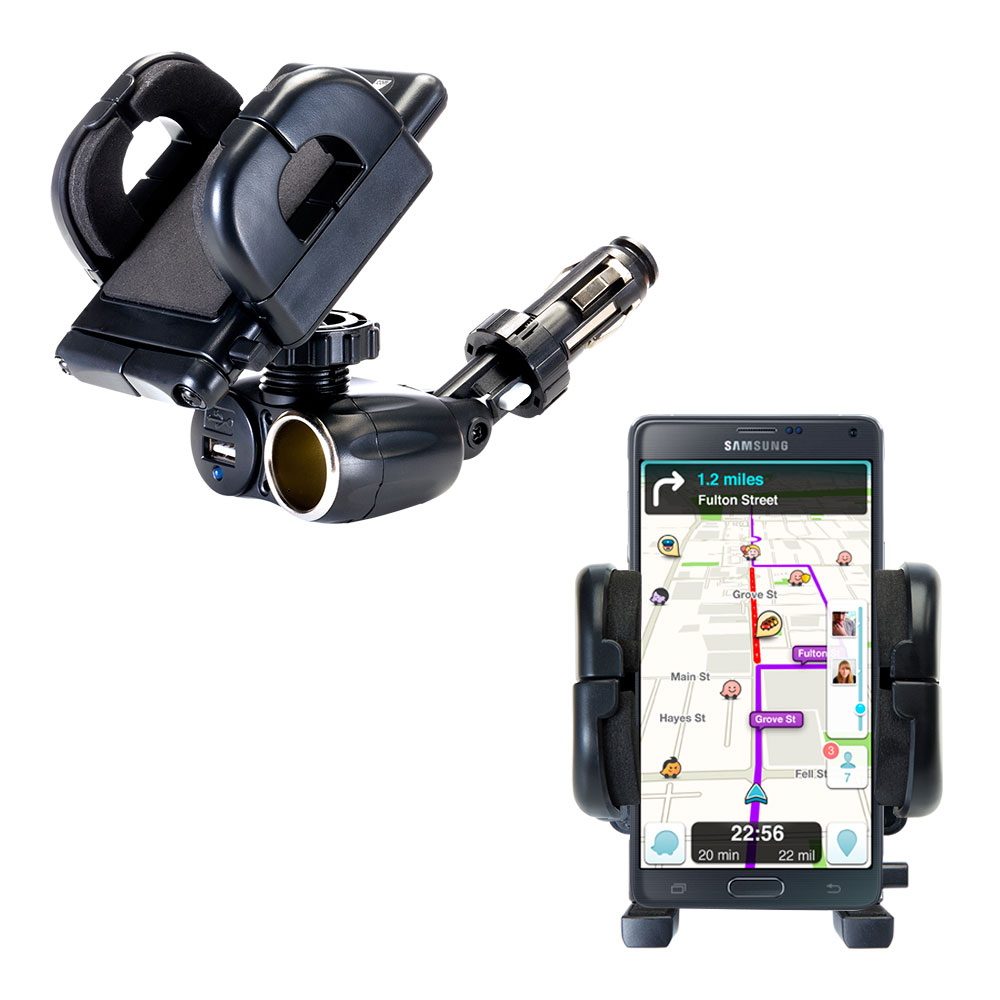 Dual USB / 12V Charger Car Cigarette Lighter Mount and Holder for the Samsung Galaxy Note 4