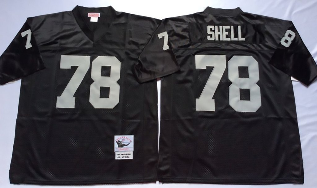 Mens Oakland Raiders SHELL #78 Throwback Football Jersey Black Medium by