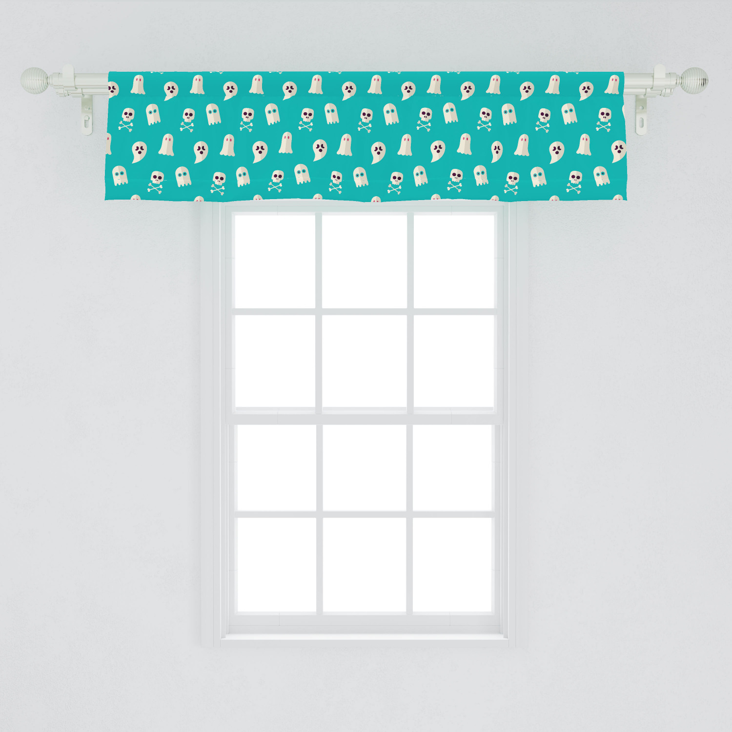 Ghost Window Valance Scary Ghost Spirits Skulls And Bones On Turquoise Shade Halloween Party Curtain Valance For Kitchen Bedroom Decor With Rod Pocket By Ambesonne Walmart Com Walmart Com