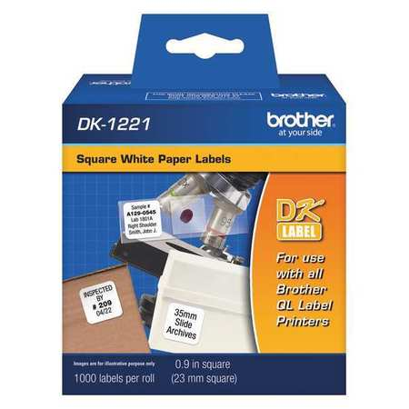 BROTHER Label,Black/White,Paper,0.9 In. W DK1221