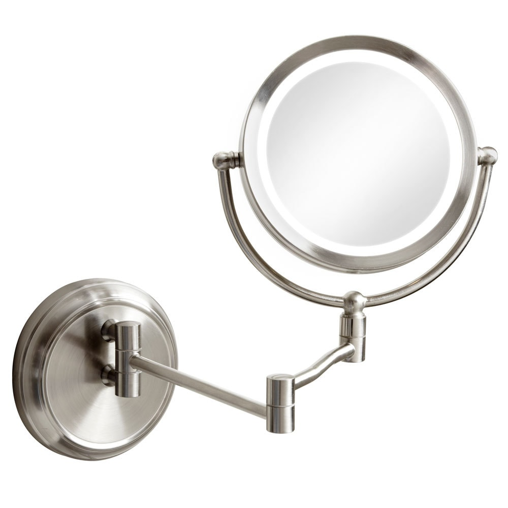 Dainolite Swing Arm Led Lighted Magnifier Mirror Satin