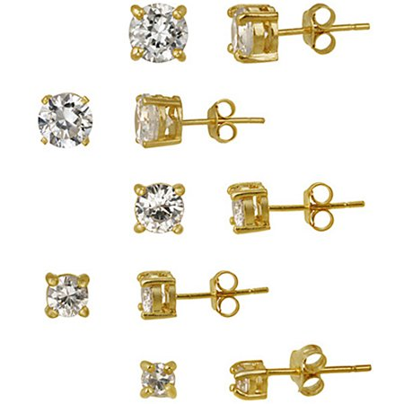 10.44 Carat T.G.W. CZ 18kt Gold over Sterling Silver 5-Pair Round Stud Earrings Set
