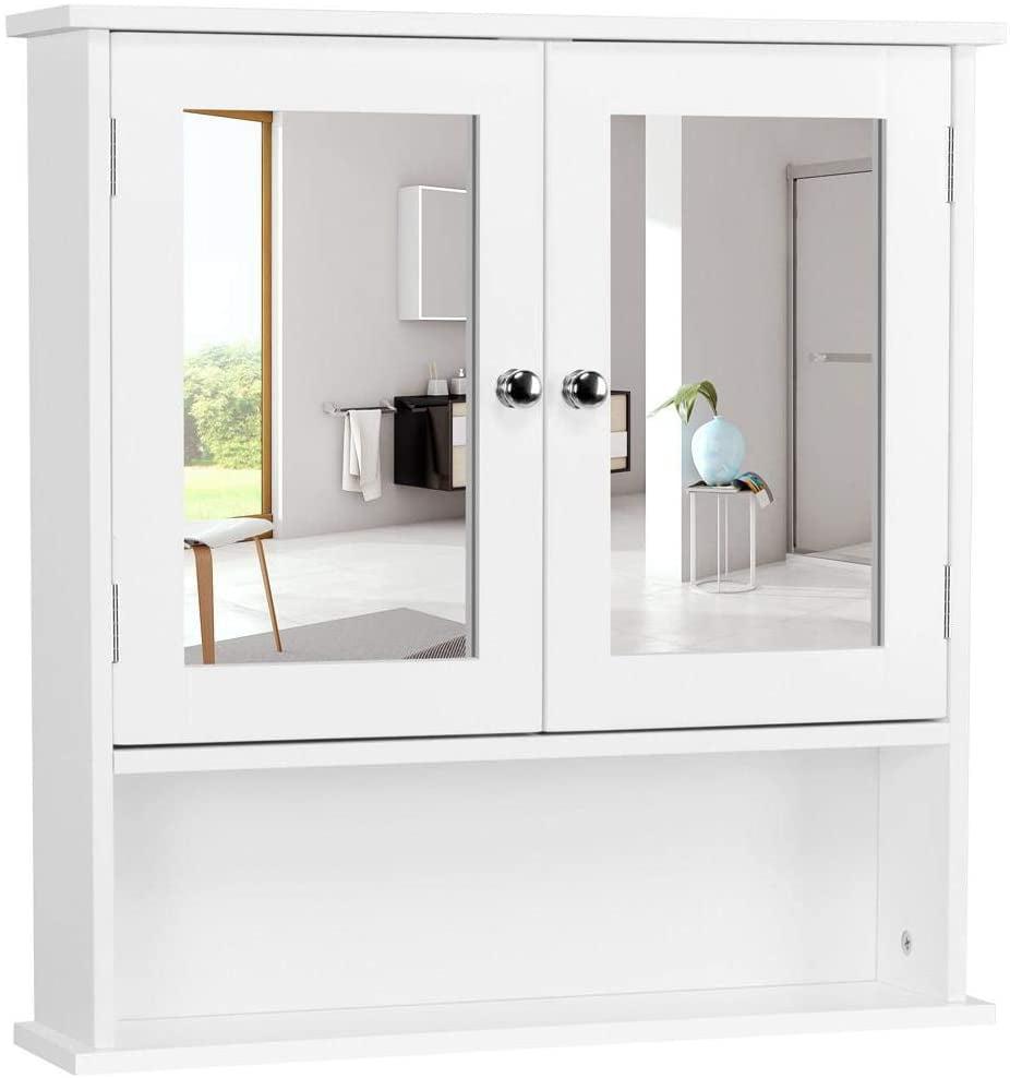 Ktaxon Bathroom Wall Cabinet with Mirror Doors Adjustable ...