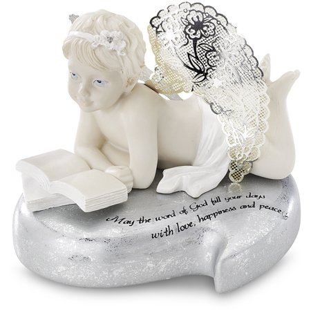 """Pavilion-  """"May the Word of God fill your days with love, happiness and peace"""" Cherub Reading Book on Heart Figurine Statue 3.5"""""""