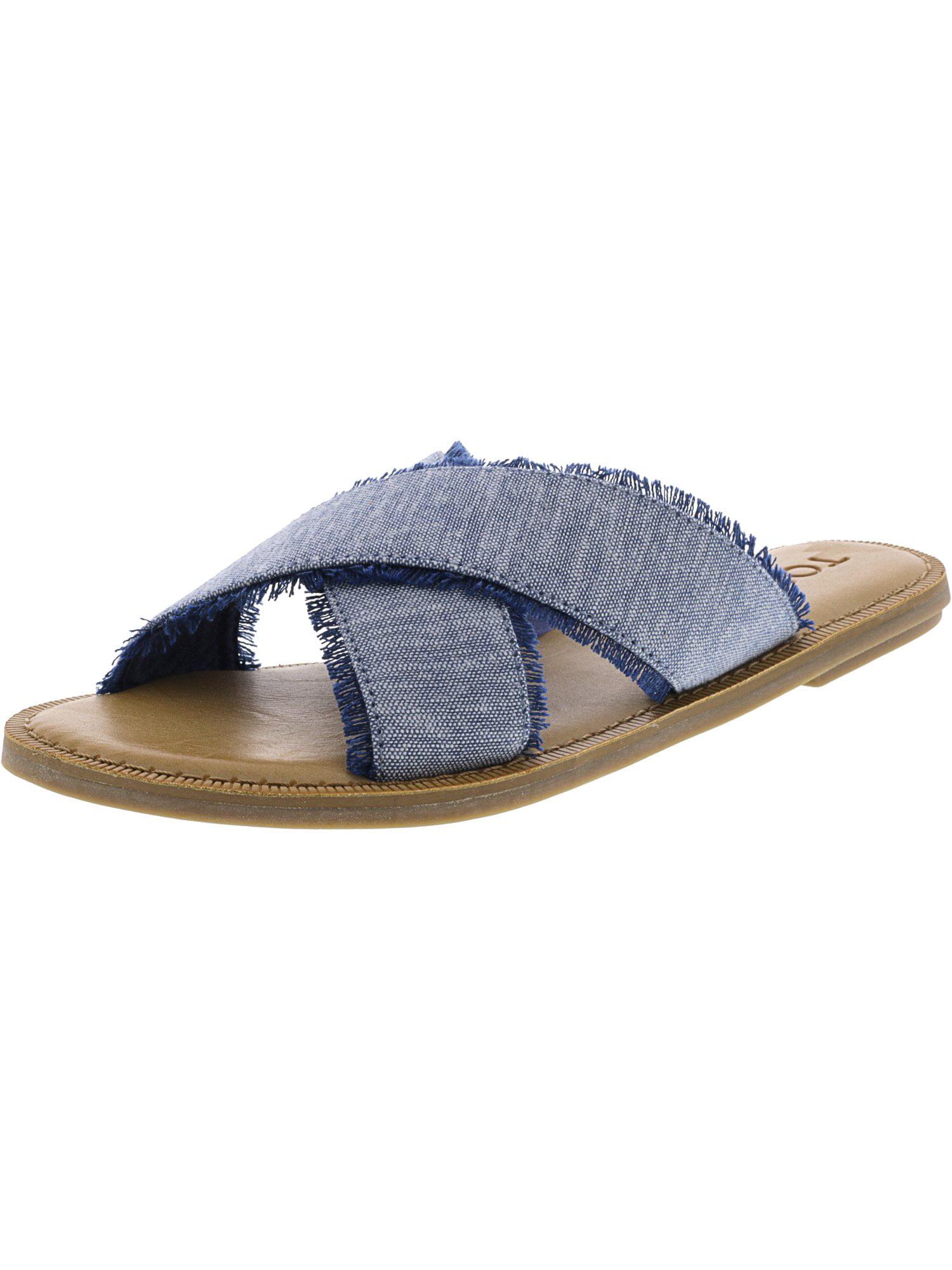 Toms Women's Viv Slub Chambray Blue Fabric Sandal - 7M