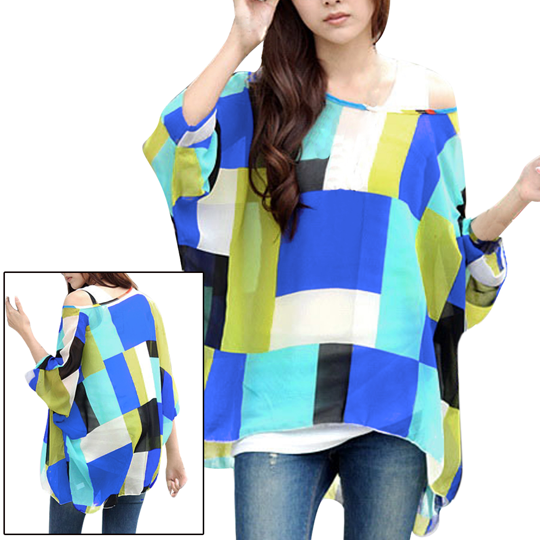 5864 Women Round Neck Batwing Sleeve Design Semi Sheer Pullover Blouse