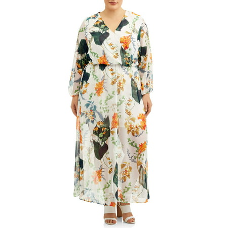 Woman's Plus Size Long Sleeve Surplice Floral Maxi Dress - Plus Size Hippie Fancy Dress