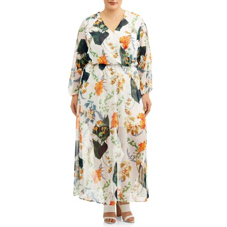 Woman's Plus Size Long Sleeve Surplice Floral Maxi Dress - Plus Size Goddess Dresses