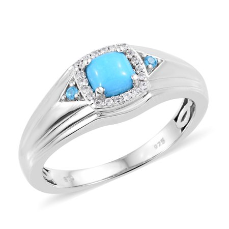 Solitaire Ring 925 Sterling Silver Platinum Plated Sleeping Beauty Turquoise Neon Apatite Mens Gift Jewelry ()