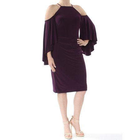 RALPH LAUREN Womens Purple Cold Shoulder Bell Sleeve Square Neck Below The Knee Sheath Cocktail Dress  Size: -