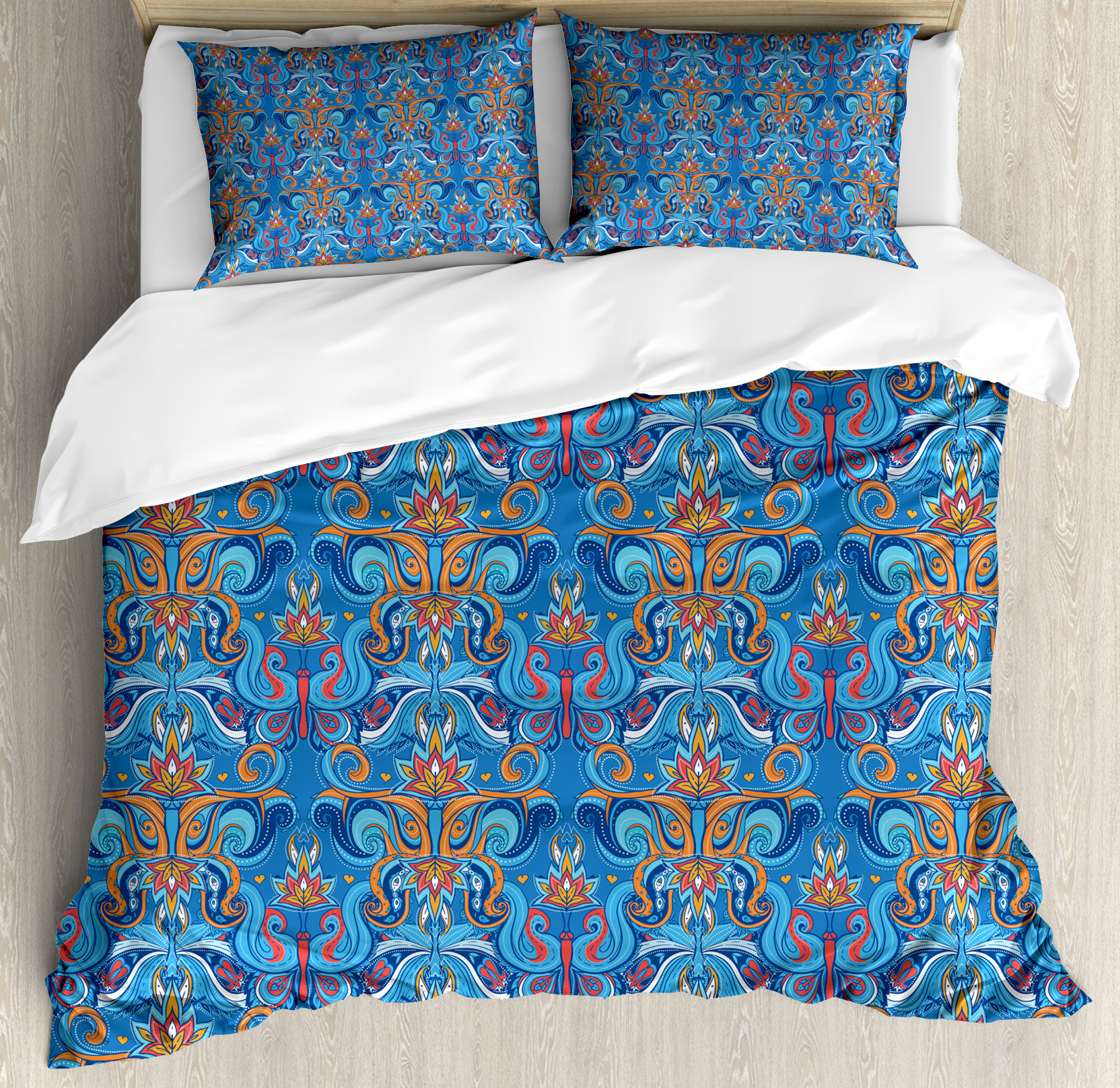 Blue Queen Size Duvet Cover Set, Abstract Floral Pattern with Paisley Influences Ornate Curls Swirled Leaves, Decorative 3 Piece Bedding Set with 2 Pillow Shams, Blue Orange Coral, by Ambesonne