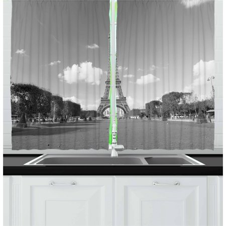European Living Room - Black and White Curtains 2 Panels Set, Famous Travel Destination Eiffel Tower Paris City European Landscape, Window Drapes for Living Room Bedroom, 55W X 39L Inches, Grey Black White, by Ambesonne