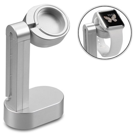 Apple Watch Charging Dock Station Charge Stand Desktop for Apple Watch Series 1 38mm / 42mm,Watch Series 2 38mm / 42mm,Watch Series 3 38mm / 42mm / 44mm,Watch Series 4 40mm - Silver