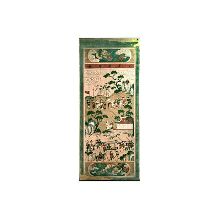 A painted scroll in the Chinese style depicting  the Festive Return of the Civil Servant