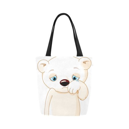 ASHLEIGH Sad polar bear Canvas Tote Bag Reusable Collapsible Durable Grocery Shopping (Bears Collapsible)