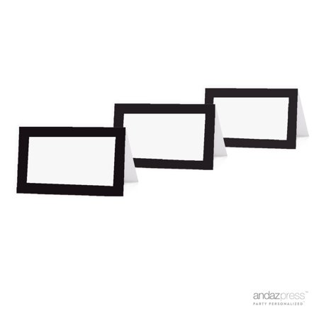 Blank Formal Black & White Table Tent Place Cards, 20-Pack