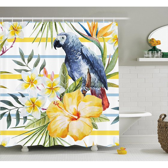 Parrots Decor Shower Curtain Set By , Tropical Exotic Pattern With ...