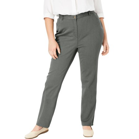 543486e4d3f Woman Within - Plus Size Tall Cotton Straight Leg Relaxed Fit Jean -  Walmart.com