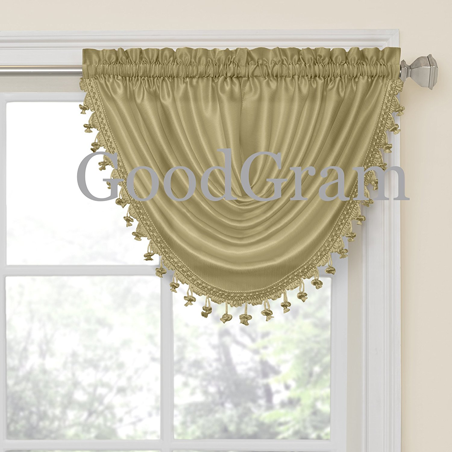 GoodGram Hyatt Ultra Luxurious Faux Silk Window Valance Treatments - Antique