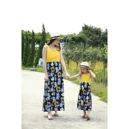 Sleeveless Floral Dress For Mommy And Me Parent-Child Dresses Matching Family Matching Clothes Maxi Long Dress Womens Girls Summer Beach Dress - Girls Long Maxi Dress