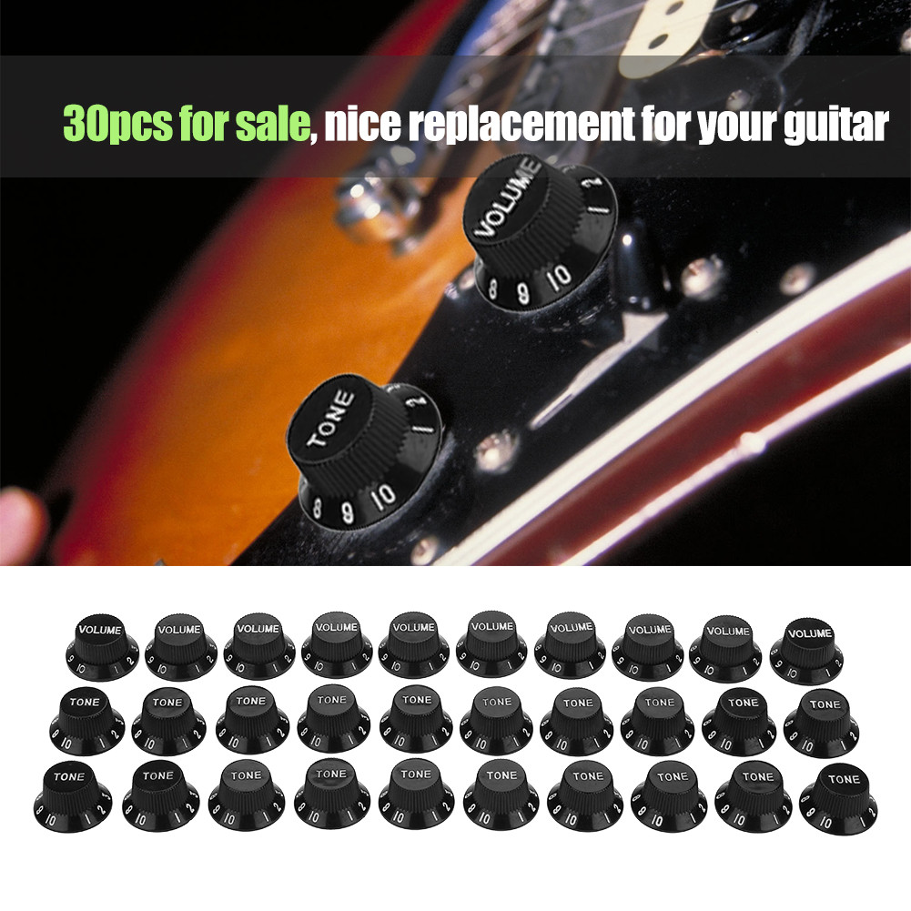 Yosoo 30pcs Guitar Tone Volume Control Knobs Replacement for ST SQ Electric Guitars, Guitar Accessory, Guitar Replacement Knob
