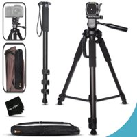 Durable Pro Grade 75 inch Tripod + 72 inch Pro Monopod W/ Convenient Backpack style Carrying Case for Nikon D7200, D7100, D750, D5300, D5200, D5100, D3300, D3200, D3100 D810A, D810, D800, D610, D600,