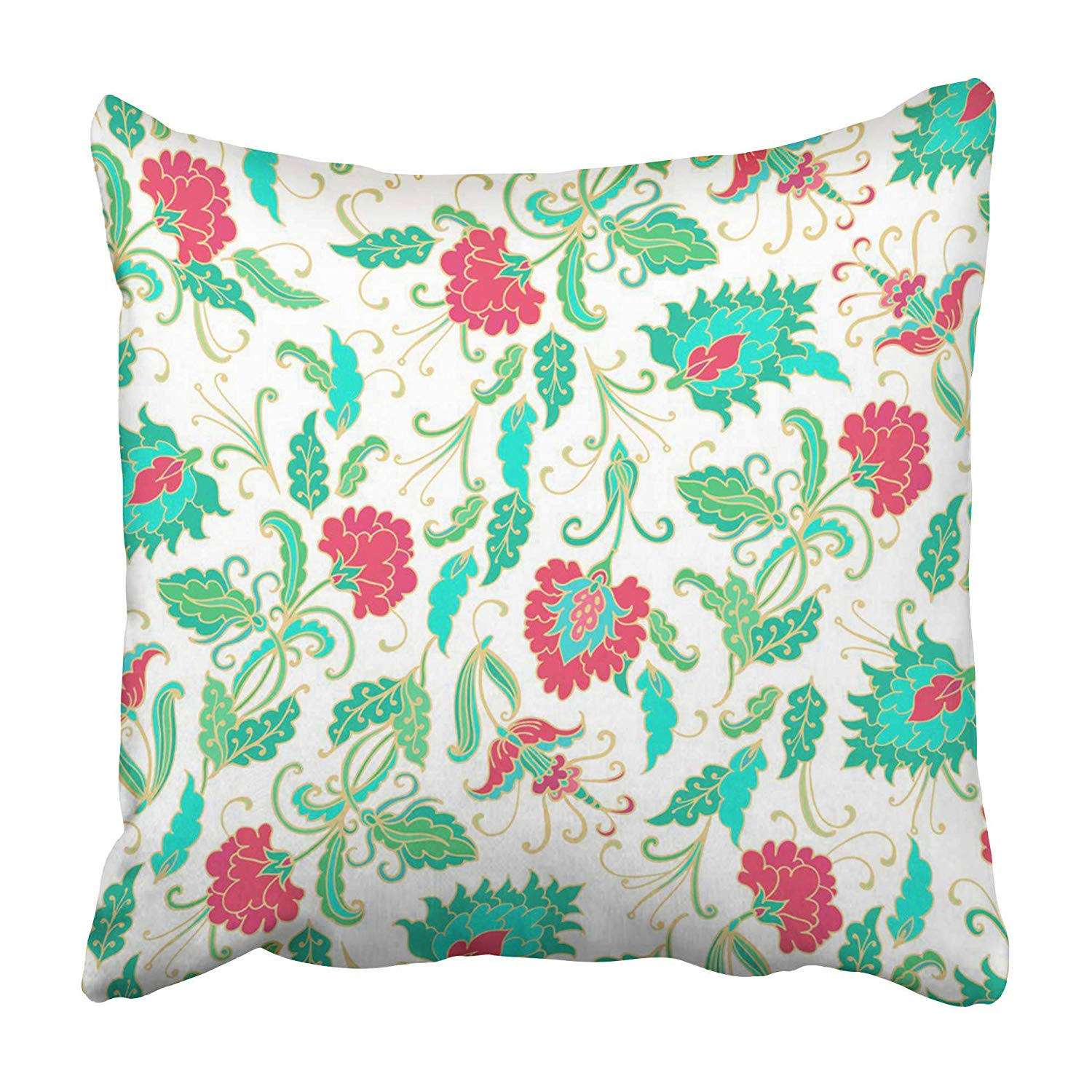 ARHOME Ditsy Turquoise Red Paisley Floral Pattern on White Style Flower Tulip Batik Pillowcase 20x20 inch
