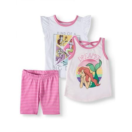 Disney Princess T-shirt, Tank Top & Shorts, 3pc Outfit Set (Toddler - Childrens Princess Outfits