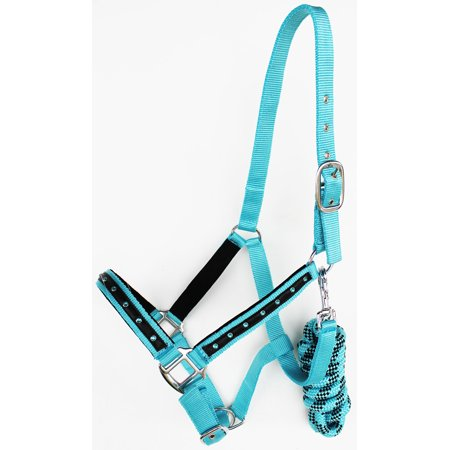 Horse Nylon Padded Halter Lead Rope Nickel Plated Hardware Sky Blue 606166 Riding Rope Halter