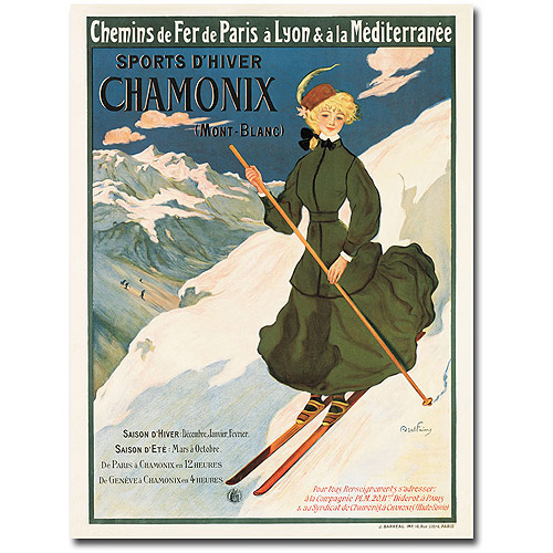 "Trademark Art ""SNF Routes to Chamonix, 1910"" Canvas Wall Art"