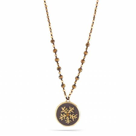 0900000001925 Gold-Tone Metal Gold Snow Flakes Brown Pendant Tigers Eye Beads Necklace