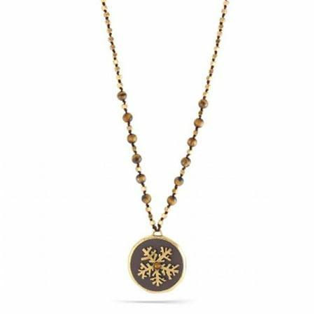 Eshopo 0900000001925 Gold-Tone Metal Gold Snow Flakes Brown Pendant Tigers Eye Beads Necklace