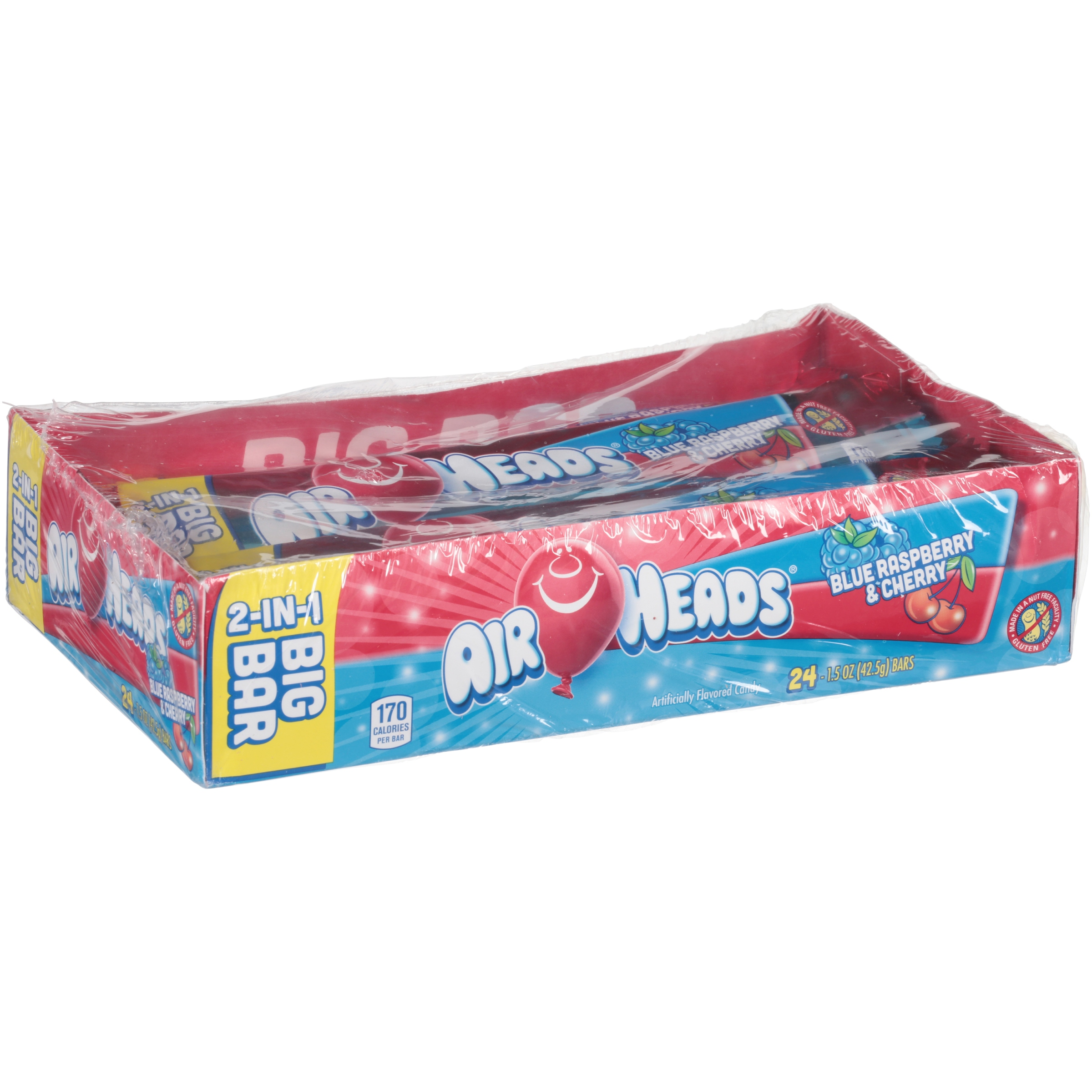 Airheads, Blue Raspberry & Cherry Big Bars, 24 Ct