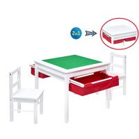 UTEX 2-in-1 Kids Multi Activity Table and 2 Chairs Set with Storage,Childrens Construction Play Table and Chairs Sets