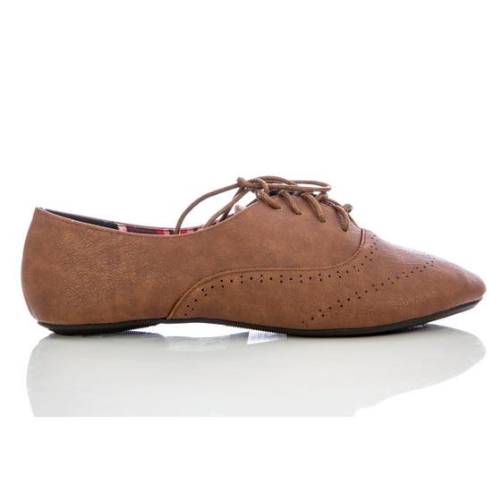 bcb7328086 Delias - Delias Women's Lace-Up Wingtip Oxford Ballet Flat Shoe ...