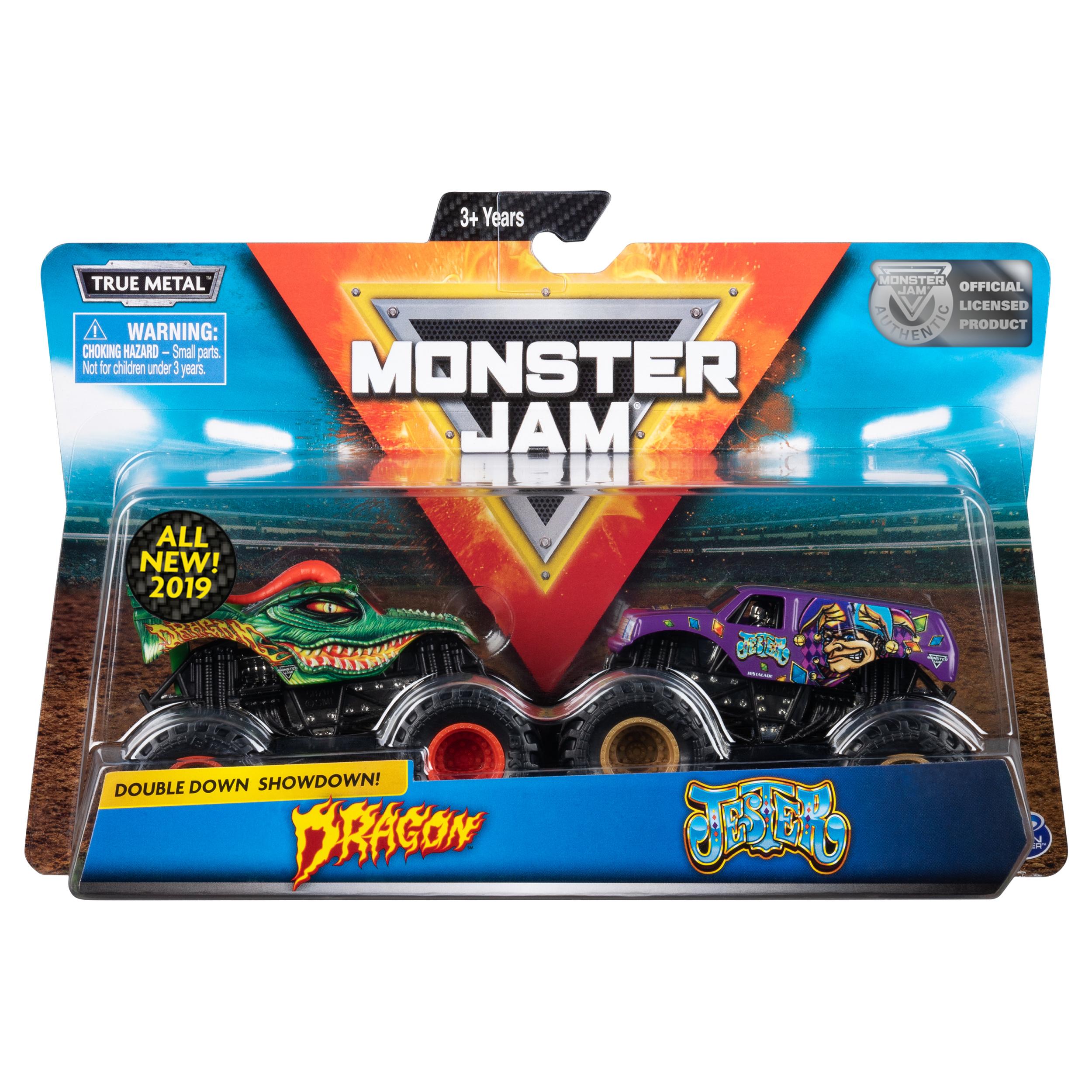 Monster Jam, Official Dragon vs. Jester Die-Cast Monster Trucks, 1:64 Scale, 2 Pack